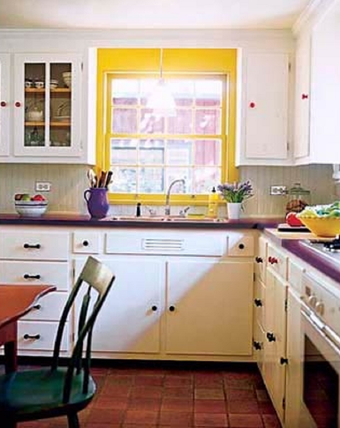 Pop of  Yellow in Kitchen
