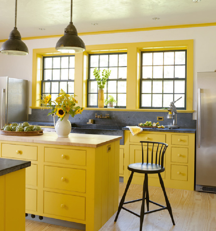 Yellow Kitchen Cabinets and Windows