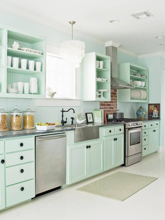 Aqua Green Kitchen Cabinets