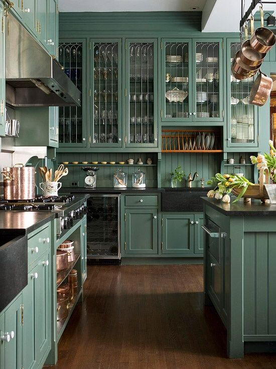 19 Best Green Kitchen Cabinets Ideas, Best Gray Green Paint For Kitchen Cabinets