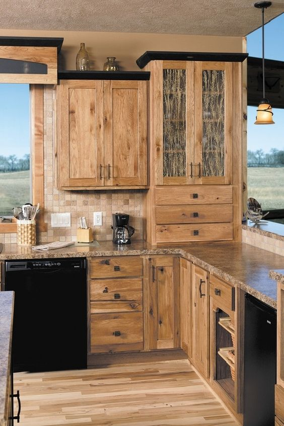 Hickory Cabinets Rustic Kitchen Design