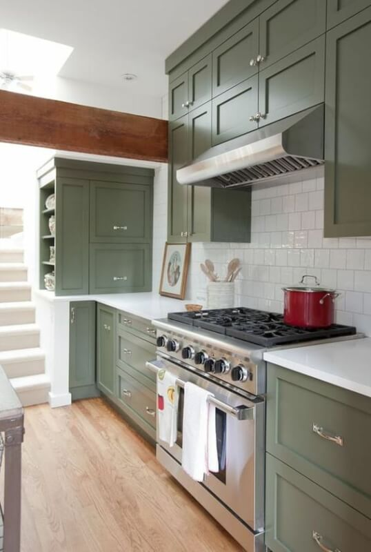 green colour kitchen cabinets