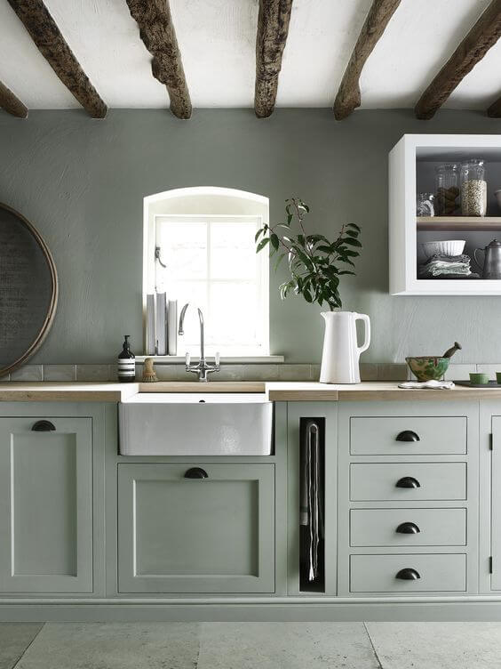 kitchen cabinets painted green colour
