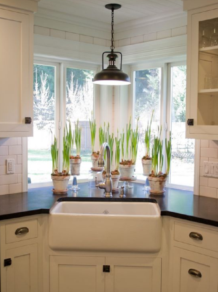 kitchen sink in corner ideas