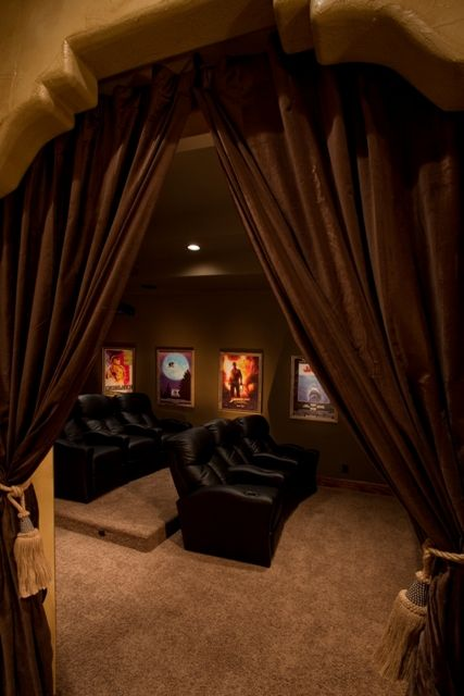 Basement Home Theater with Curtains Design