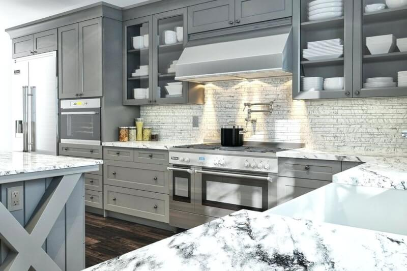 light grey cabinets in kitchen