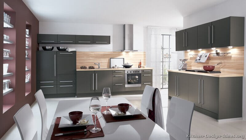 modern gray kitchen cabinets
