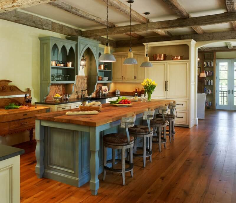 Rustic Kitchen Island with Seating