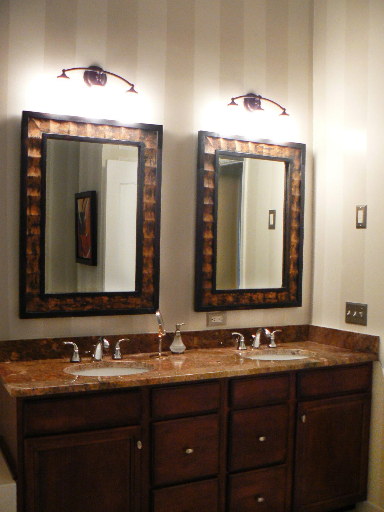 black framed bathroom mirror
