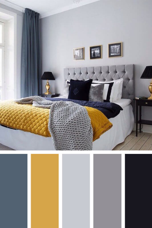 bedroom color schemes blue gray