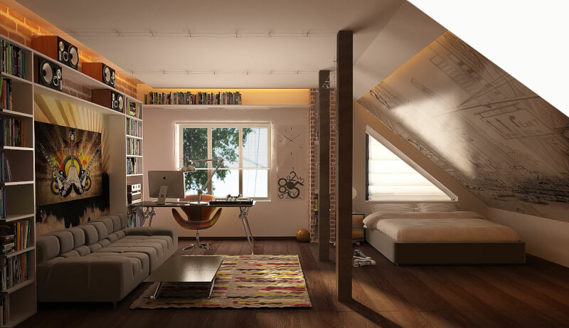 Attic Bedroom Office Combo