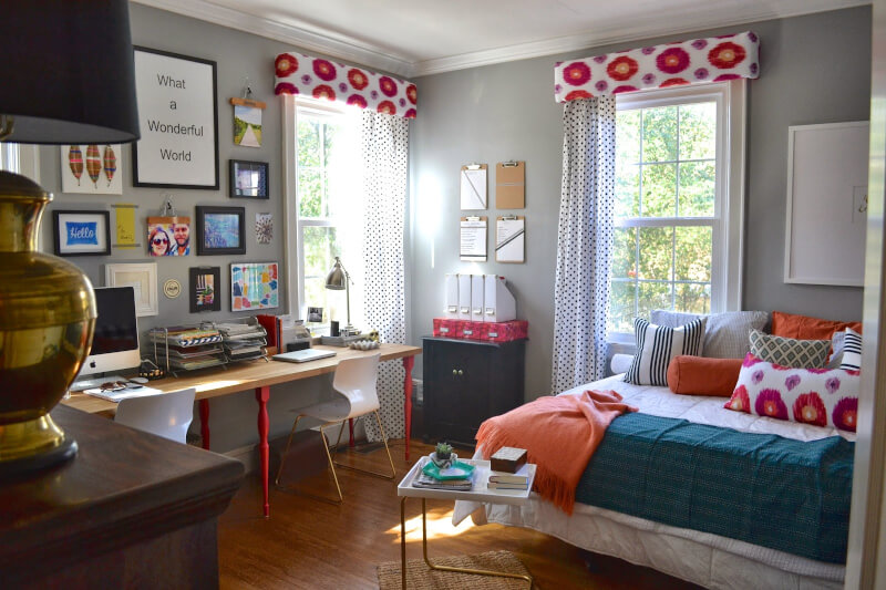 Eclectic Bedroom with Office
