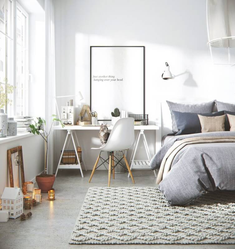 Scandinavian Workspace and Bedroom