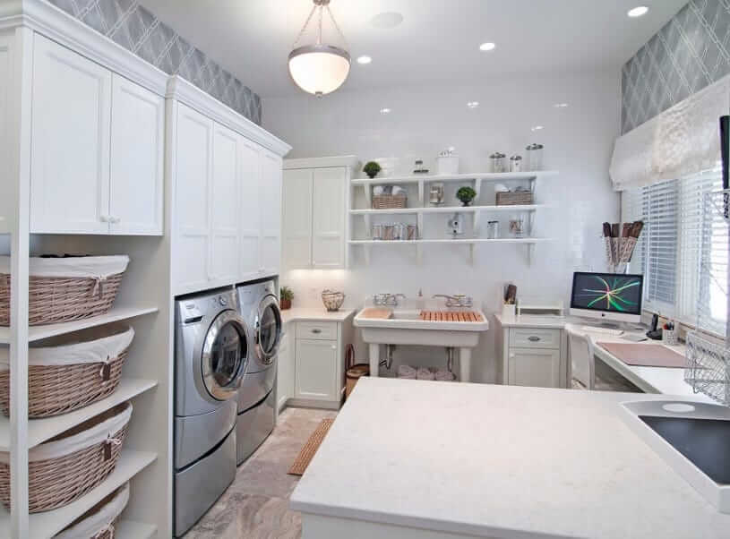 Organizing The Laundry Room With A Stand Alone Shelf
