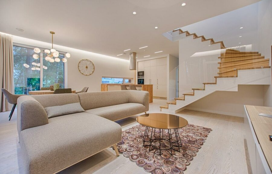 Modern living room combined with a dining room with a unique carpet
