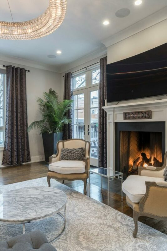 Very modern living room designed in a traditional style