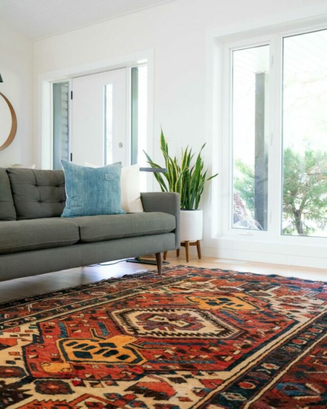 Vibrant, mid-century carpet in a modern home